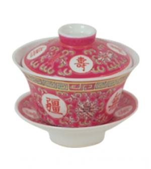 Чашка с блюдцем и крышкой (Цвет-красный)